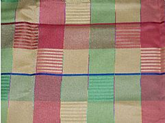 COOMO TABLECLOTH GOLD RED LIME BLUE CHECK 150 CM X 230 CM NEW