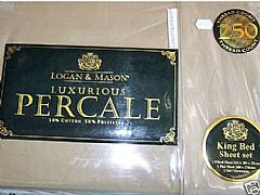 LOGAN-&-MASON-250-THREAD-COUNT-PERCALE-KING-SHEET-SET-OLIVE-GREEN-NEW