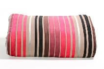 LATTE-BEDSPREAD-THROW-QUILT-180-X-250-POLY-COTTON-WITH-CHERRY-RED-STRIPE-SPECIAL