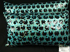 SEQUINS & CIRCLES BLACK & AQUA CUSHION 30 cm X 60 cm RECTANGLE NEW DESIGNER
