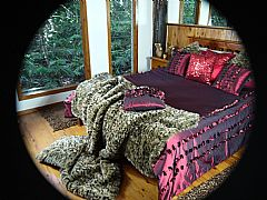 BEDSPREAD-THROW-180-CM-X-250-CM-THROW-BURGUNDY-RED-METALLIC-TAFFETA-POP-UP-ROSE-PETAL