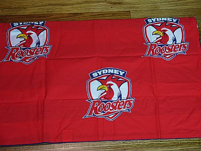OFFICIAL NRL SYDNEY ROOSTERS  DOUBLE SIDED SINGLE QUILT COVER WITH PILLOWCASE