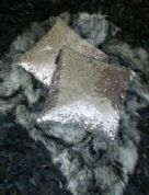 MALIBU GOLD SEQUINED CUSHION SQUARE AND RECTANGLE DESIGNER NEW
