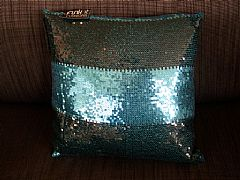 SEQUINS-STRIPES-BLACK-&-AQUA-CUSHION-40-cm-X-40-cm-SQUARE-NEW-DESIGNER