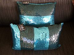 SEQUINS-STRIPES-BLACK-&-AQUA-CUSHION-30-cm-X-50-cm-RECTANGLE-NEW-DESIGNER