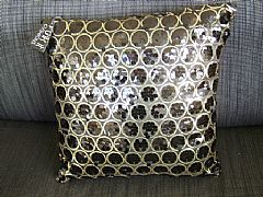 SEQUINS-&-CIRCLES-BLACK-&-GOLD-CUSHION-40-cm-X-40-cm-SQUARE-NEW-DESIGNER