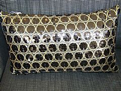 SEQUINS-&-CIRCLES-BLACK-&-GOLD-CUSHION-30-cm-X-50-cm-RECTANGLE-NEW-DESIGNER