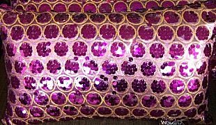 SEQUINS-&-CIRCLES-PURPLE-&-GOLD-CUSHION-30-cm-X-50-cm-RECTANGE-NEW-DESIGNER-BARGAIN