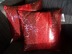 SEQUINS-STRIPES-BLACK-&-RED-CUSHION-40-cm-X-40-cm-SQUARE-NEW-DESIGNER-BARGAIN