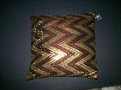 SEQUINS-JAZZY-ZIG-ZAG-CHOCOLATE-&-GOLD-CUSHION-40-cm-X-40-cm-SQUARE-NEW-DESIGNER