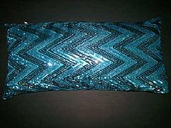 SEQUINS-JAZZY-ZIG-ZAG-AQUA-&-SILVER-CUSHION-30-cm-X-60-cm-RECTANGLE-NEW-DESIGNER