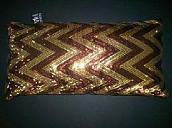 SEQUINS-JAZZY-ZIG-ZAG-CHOCOLATE-&-GOLD-CUSHION-30-cm-X-60-cm-RECTANGLE-NEW-DESIGNER