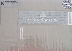 100%-COTTON-SATEEN-300-THREAD-LOGAN-&-MASON-KING-SHEET-SET-DRIFTWOOD-NEW-SPECIAL