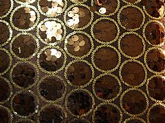 SEQUINS & CIRCLES CHOCOLATE & GOLD CUSHION 30 cm X 50 cm RECTANGLE NEW DESIGNER